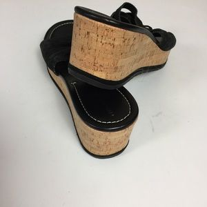 Donald J. Pliner Shoes - Donald J. Pliner Black Strappy Cork Wedge Sandals